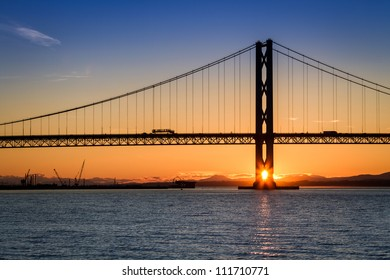 Sunset over the Forth Road Bridge in Scotland