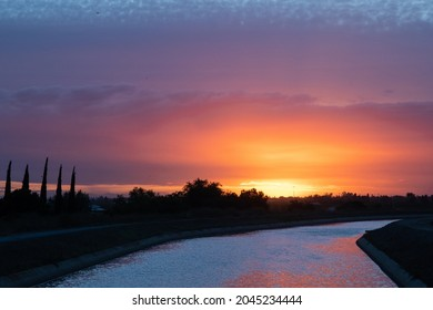 Sunset over Friant-Kern Canal in Central Valley California