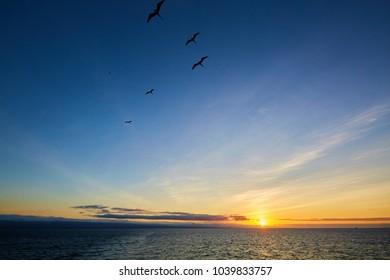 Sunset over Galapagos Islands, Galápagos Islands, Ecuador, South America