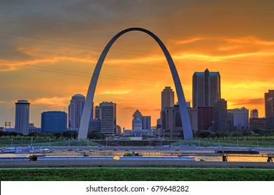 Sunset over the Gateway Arch and St. Louis, Missouri.