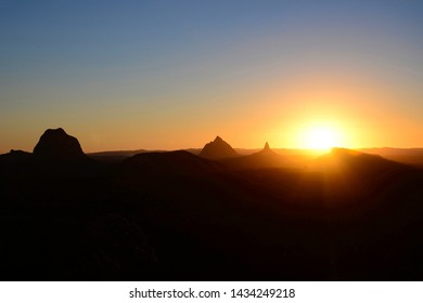 Sunset over the Glass House Mountains from the Wild Horse Lookout, Sunshine Coast, Australia