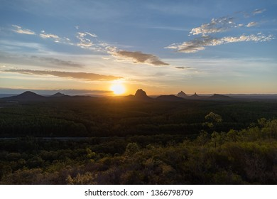 Sunset over The Glasshouse Mountains on Queensland's Sunshine Coast, from the Wild Horse Mountain Lookout