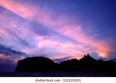 Sunset over Goats Tits peak, an area landmark, San Carlos, Sonora, Mexico, Sea of Cortez, Gulf of California