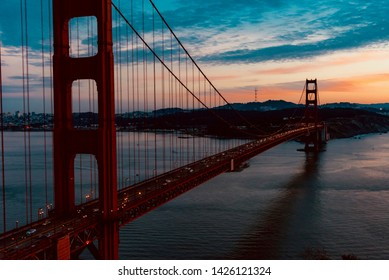 sunset over the Golden Gate Bay in San Francisco California United States