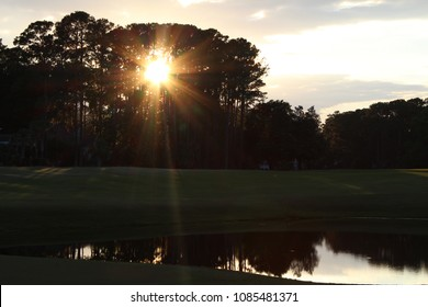 sunset over golf course at Belfair in Bluffton, South Carolina