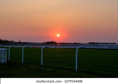 Sunset over Goodwood race course on our drive home