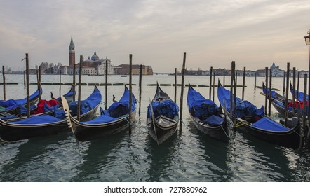 Sunset over the Gran Canal, Venice, Italy. Beautiful landscape