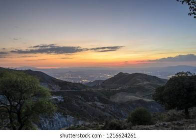 sunset over granada, andalusia, spain