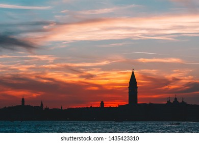 Sunset over the Grand Canal, Venice, Italy, Venice silhouette