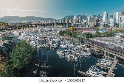 Sunset over Granville Island harbor in Vancouver