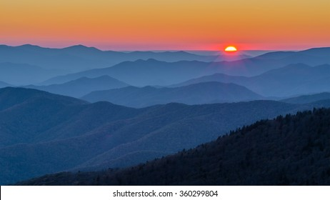 Sunset over the Great Smoky Mountains from Clingmans Dome