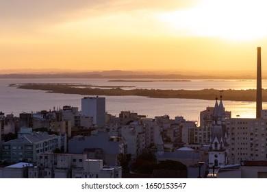 Sunset over Guaiba Lake in Porto Alegre, Brazil