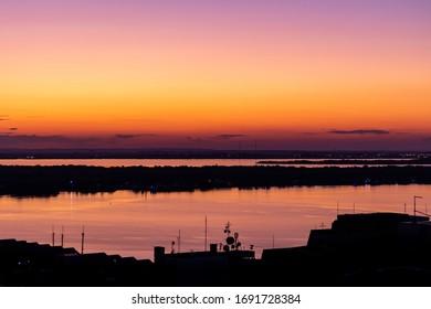 Sunset over Guaiba lake, in Porto Alegre, Brazil