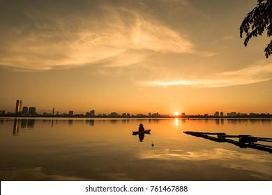 Sunset Over Hanoi's Ho Tay (West Lake)