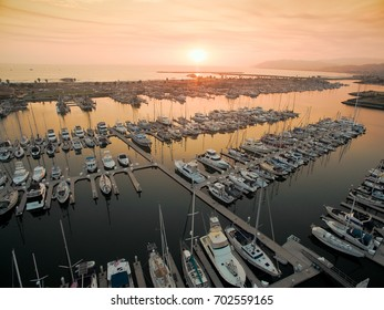 Sunset over a harbor