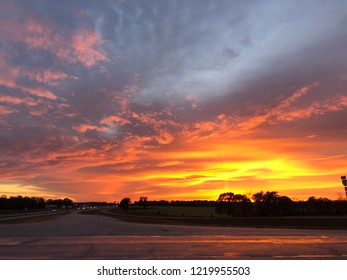 sunset over heartland, highway