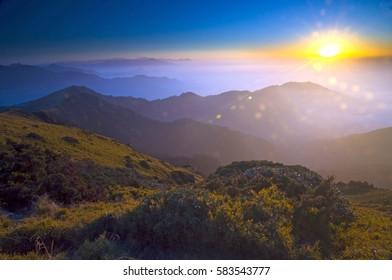Sunset over Hehuan Range, Taroko National Park, Taiwan