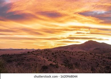 Sunset over high desert mountains in Far West Texas.