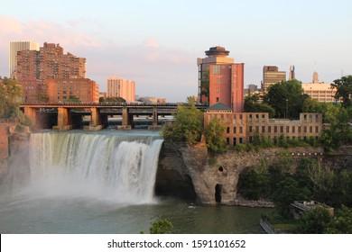 Sunset over High Falls. Rochester, NY skyline