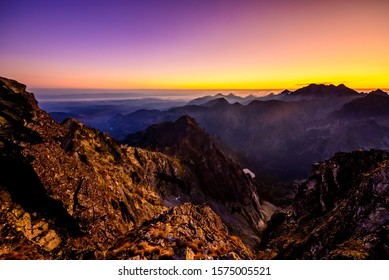 Sunset over the High Tatras mountain ridge at Rysy on slovakian polish borders.