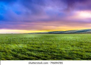 Sunset over Highway 5 Fields, California, United States