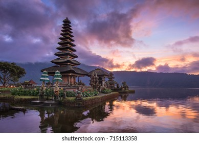 Sunset over a Hindu lake temple in Bali, Indonesia