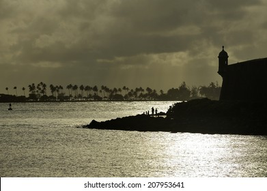 Sunset over the historical fortress surrounding the city of Old San Juan, Puerto Rico
