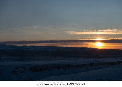 Sunset over Iceland on a winter day