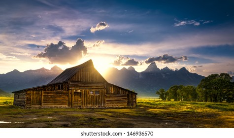 Sunset over the iconic Moulton barn on Mormon Row in Grand Teton National Park, WY