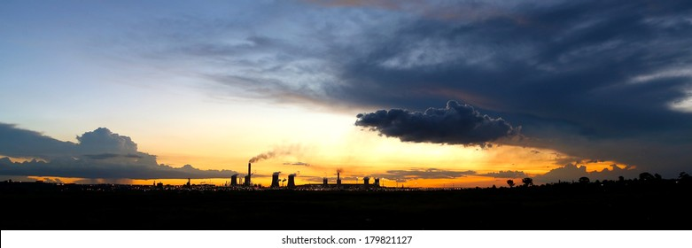 Sunset over industrial operations, South Africa