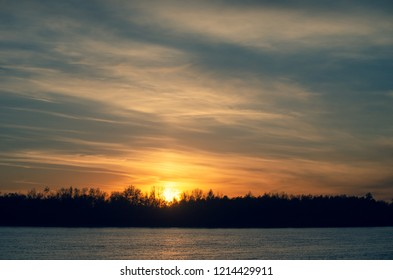 Sunset over the Irtysh River in the Omsk Region