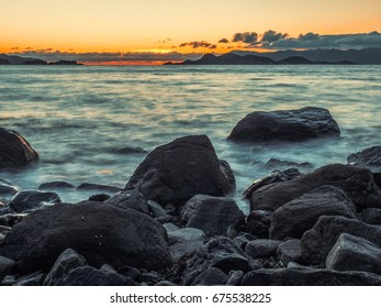 Sunset over island of Silda in Norway