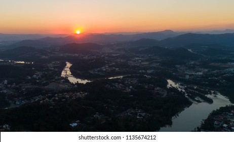 Sunset over the Itajai River Valley, Brazil