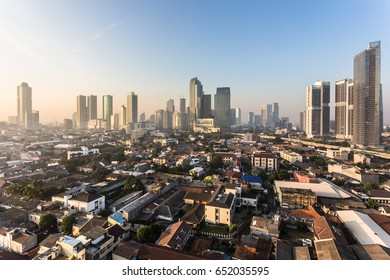 Sunset over Jakarta business district of Kuningan and Semanggi in Indonesia capital city