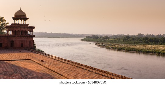 sunset over the Jamuna river near Taj Mahal