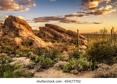 Sunset over Javelina Rocks in Saguaro National Park East near Tucson, Arizon