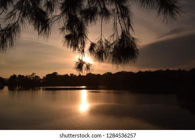Sunset over Kabaka's Lake, Kampala, Uganda