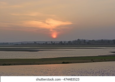 Sunset over the Kabini River in Nagarhole National Park in India
