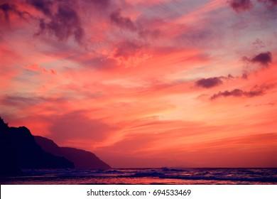Sunset over Kauai