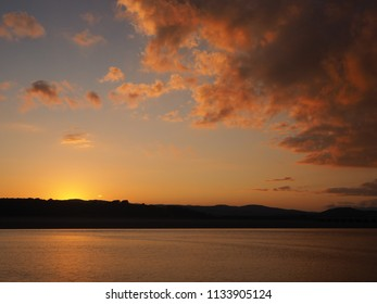 Sunset over the Kent River estuary near Arnside, Cumbria, England