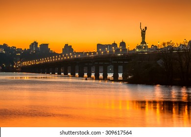 sunset over Kiev city skyline