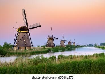 Sunset over Kinderdijk windmills