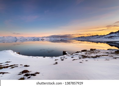 Sunset over Kleifarvatn Lake on Reykjanes Peninsula, Iceland