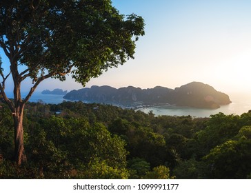 Sunset over Ko Phi Phi Don and Ko Phi Phi Leh Islands from the Hill above Ton Sai Town, Krabi Province, Thailand