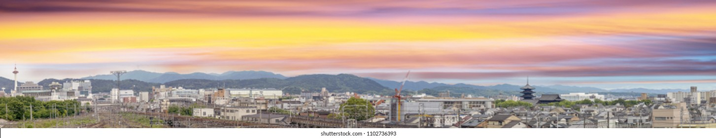 Sunset over Kyoto, Japan. Aerial panoramic city view.