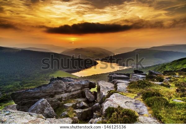 Sunset over Ladybower Reservoir from Bamford Edge, Peak District, Derbyshire, England, UK