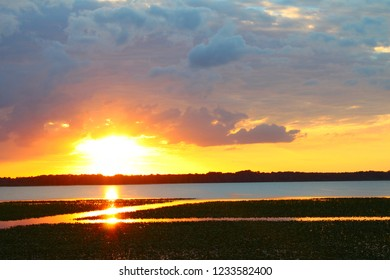 Sunset over Lake Arbuckle of the Lake Wales Ridge State Forest in central Florida