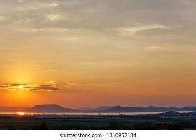 Sunset over Lake Balaton and Badacsony mountain in Hungary