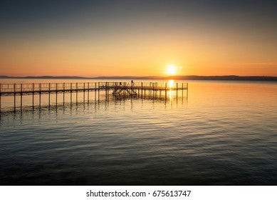 Sunset over lake Balaton, Hungary