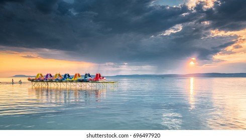 Sunset over lake Balaton, Hungary in summer
